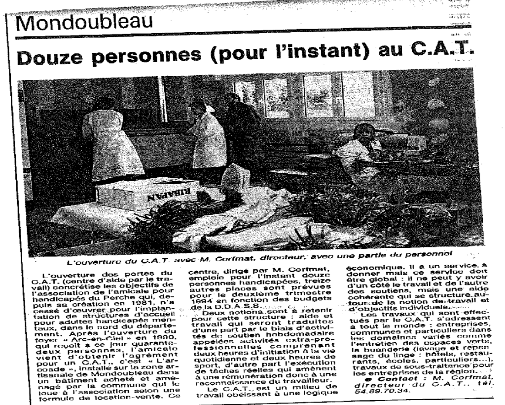 "Article du journal local qui titre ""Douze personnes (pour l'instant) au C.A.T"""