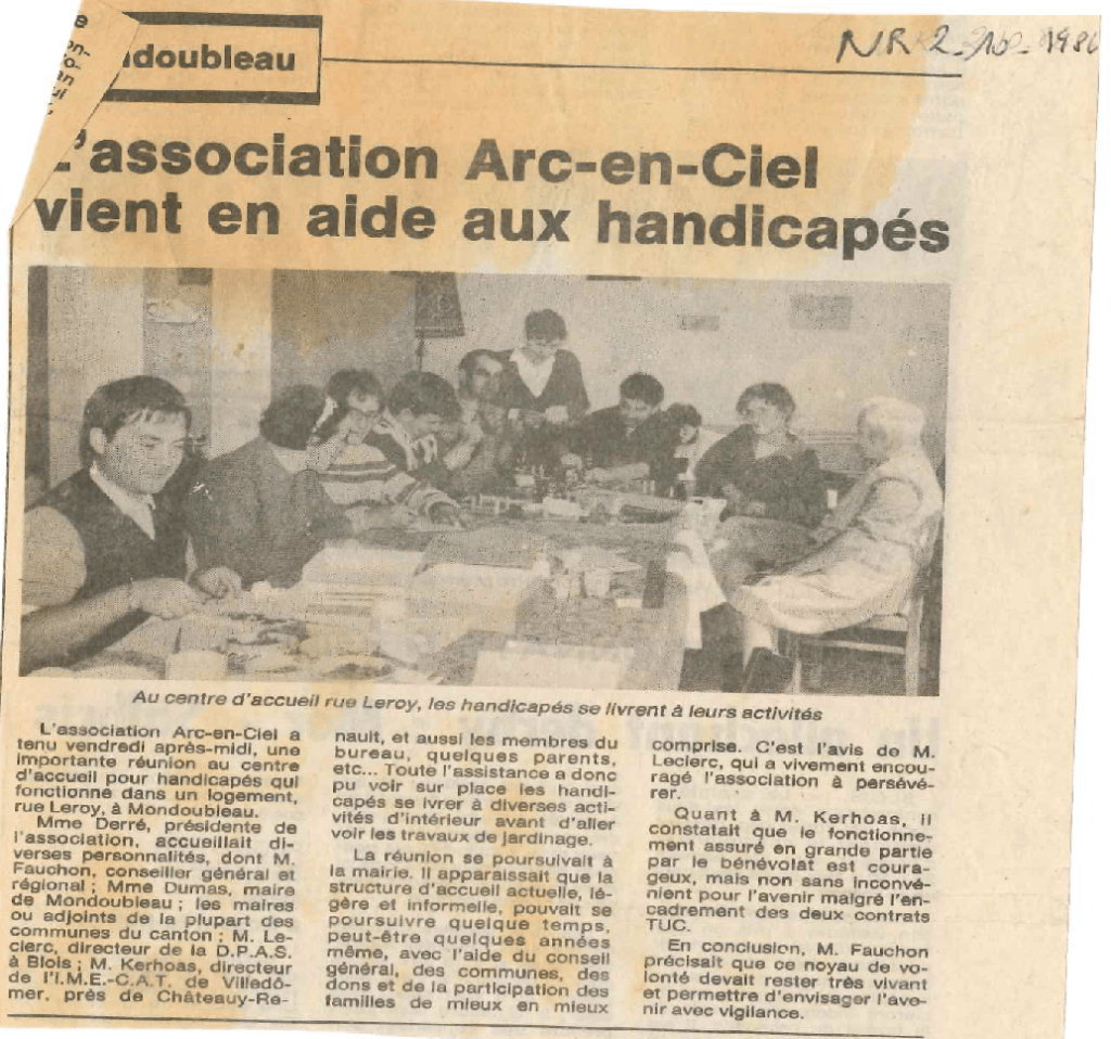 article journal local mondoubleau date 2octobre1986 titre l'association arc en ciel vient en aide aux handicapes